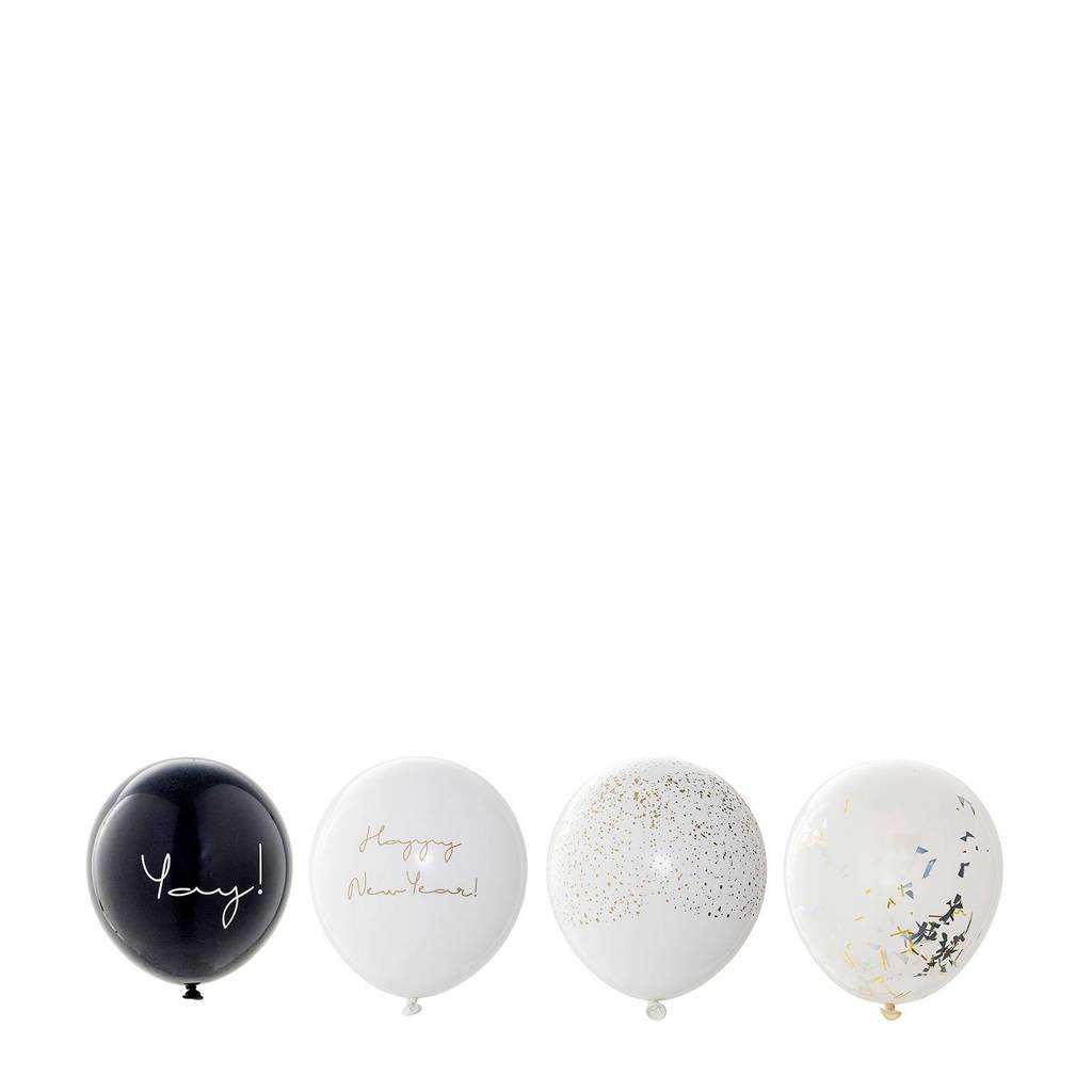 Bloomingville ballonnen Happy New Year (set van 24), Wit/Zwart/Goud