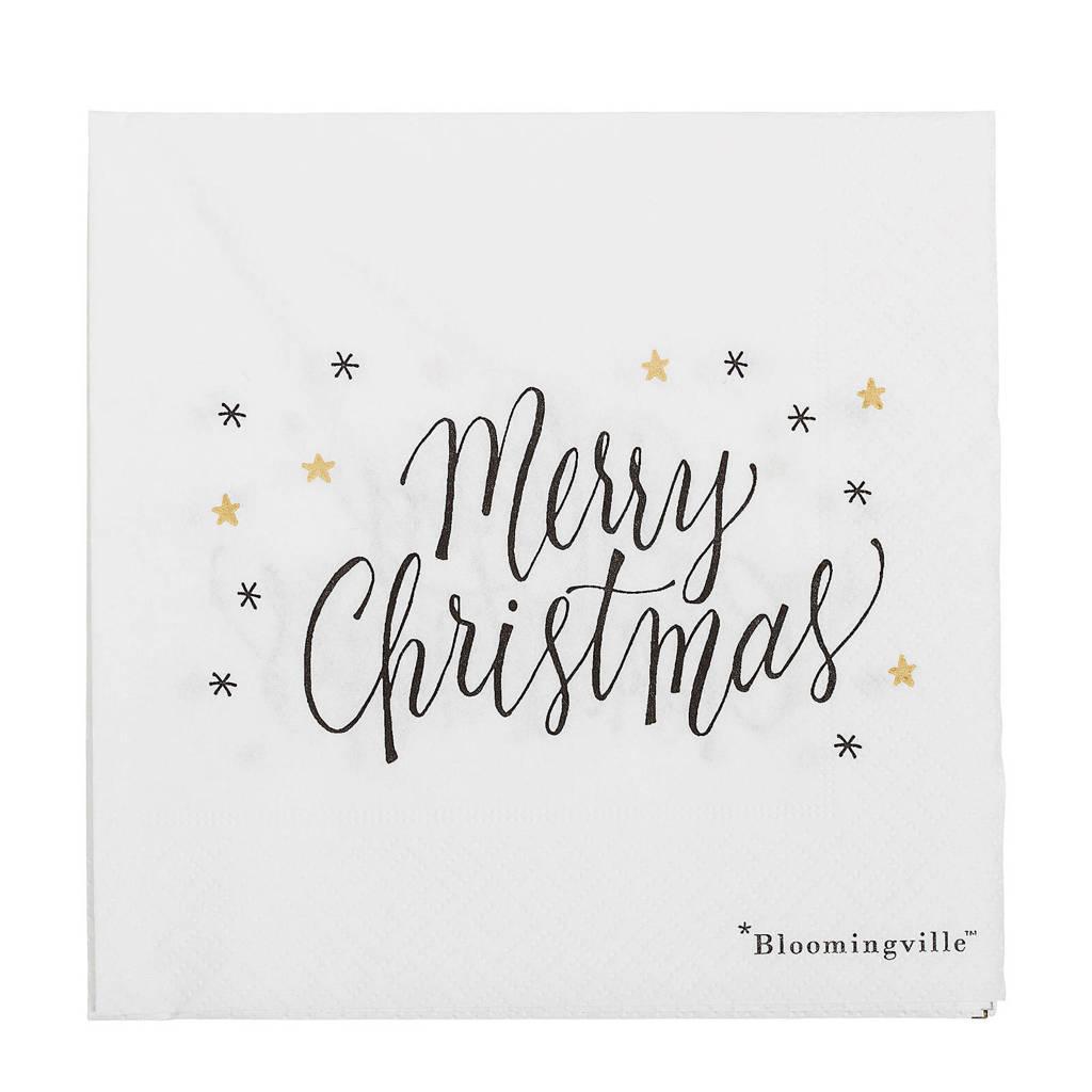 Bloomingville papieren servetten Merry Christmas (set van 20), Wit