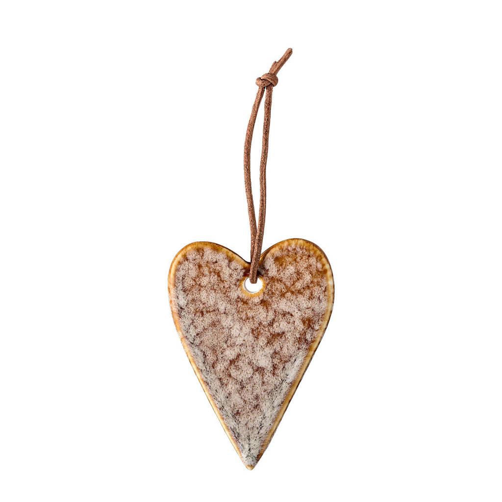 Bloomingville kersthanger hart (7 cm), Beige