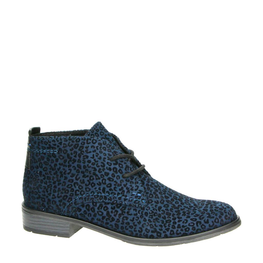 Marco Tozzi   veterschoenen met panterprint blauw, Blauw