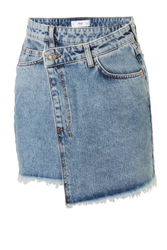 denim rok met overslag medium wassing