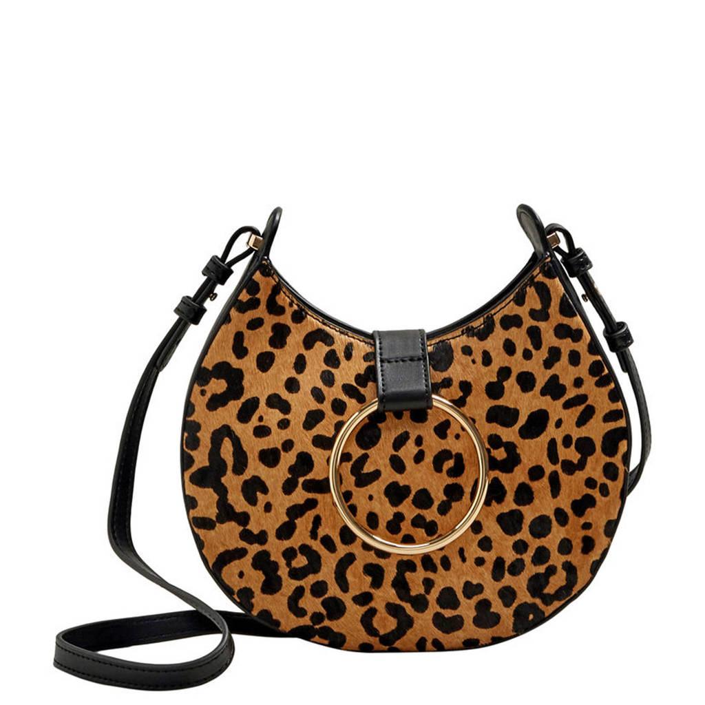 Violeta by Mango  crossbody tas met luipaardprint, Bruin/zwart