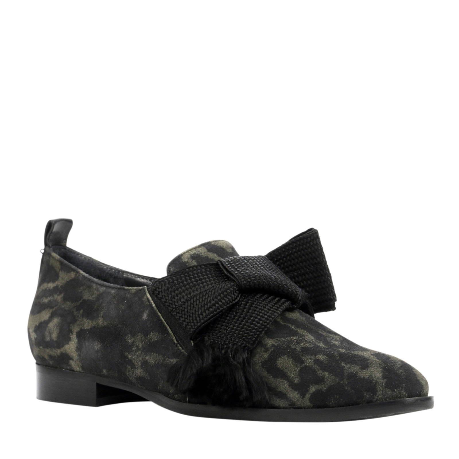 Maripe suède loafers met luipaardprint (dames)