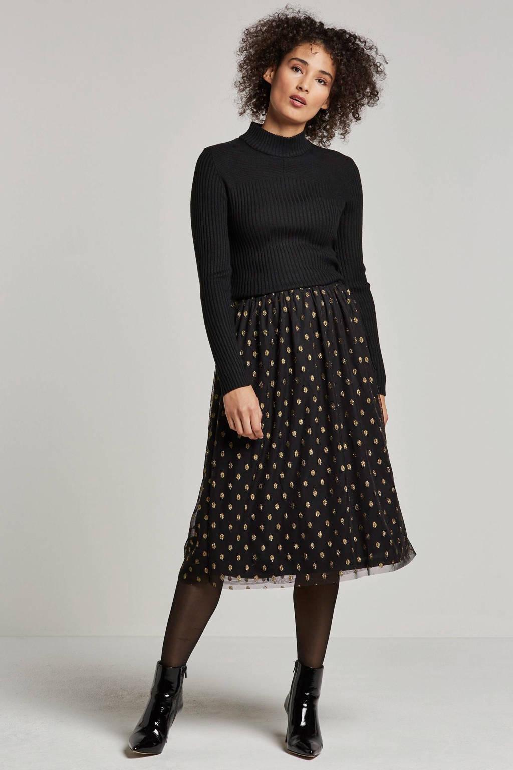 VILA rok met stippenprint, Zwart