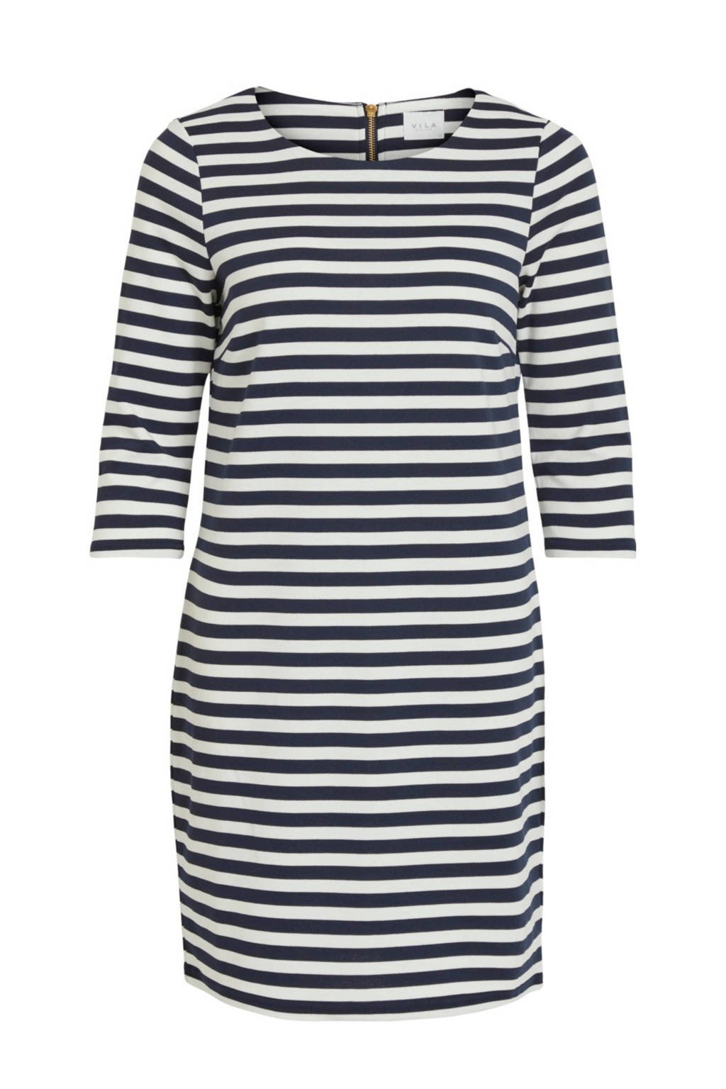 VILA jurk, Donkerblauw/wit