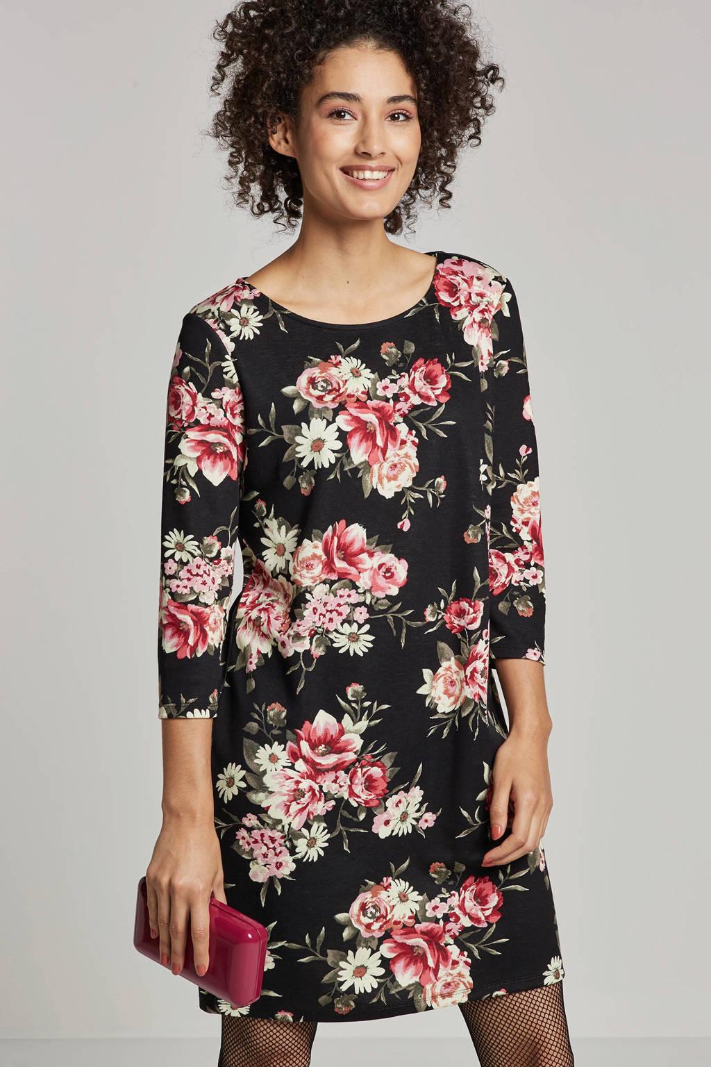 VILA gebloemde jurk, Zwart/roze/groen