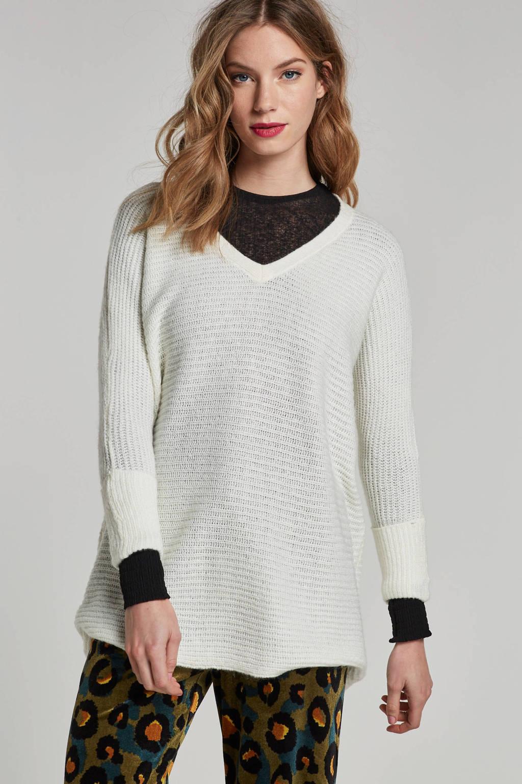 NOISY MAY gebreide trui met V-hals, Wit