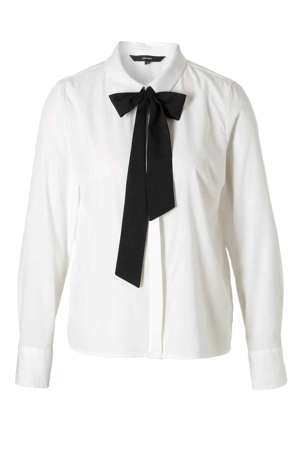 VERO MODA blouse met strik detail, Wit/zwart