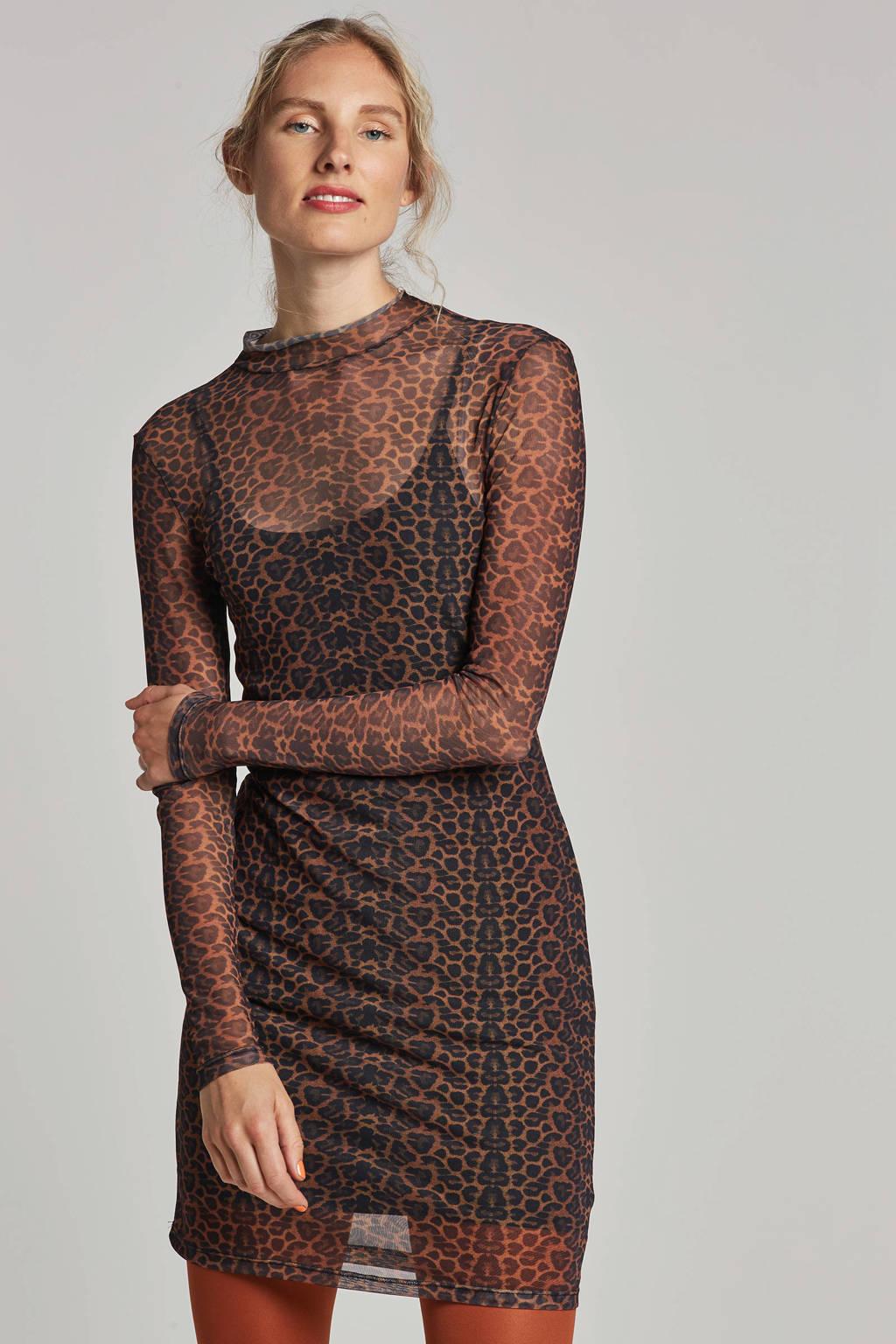Noisy may mesh jurk met panter print, Bruin/zwart