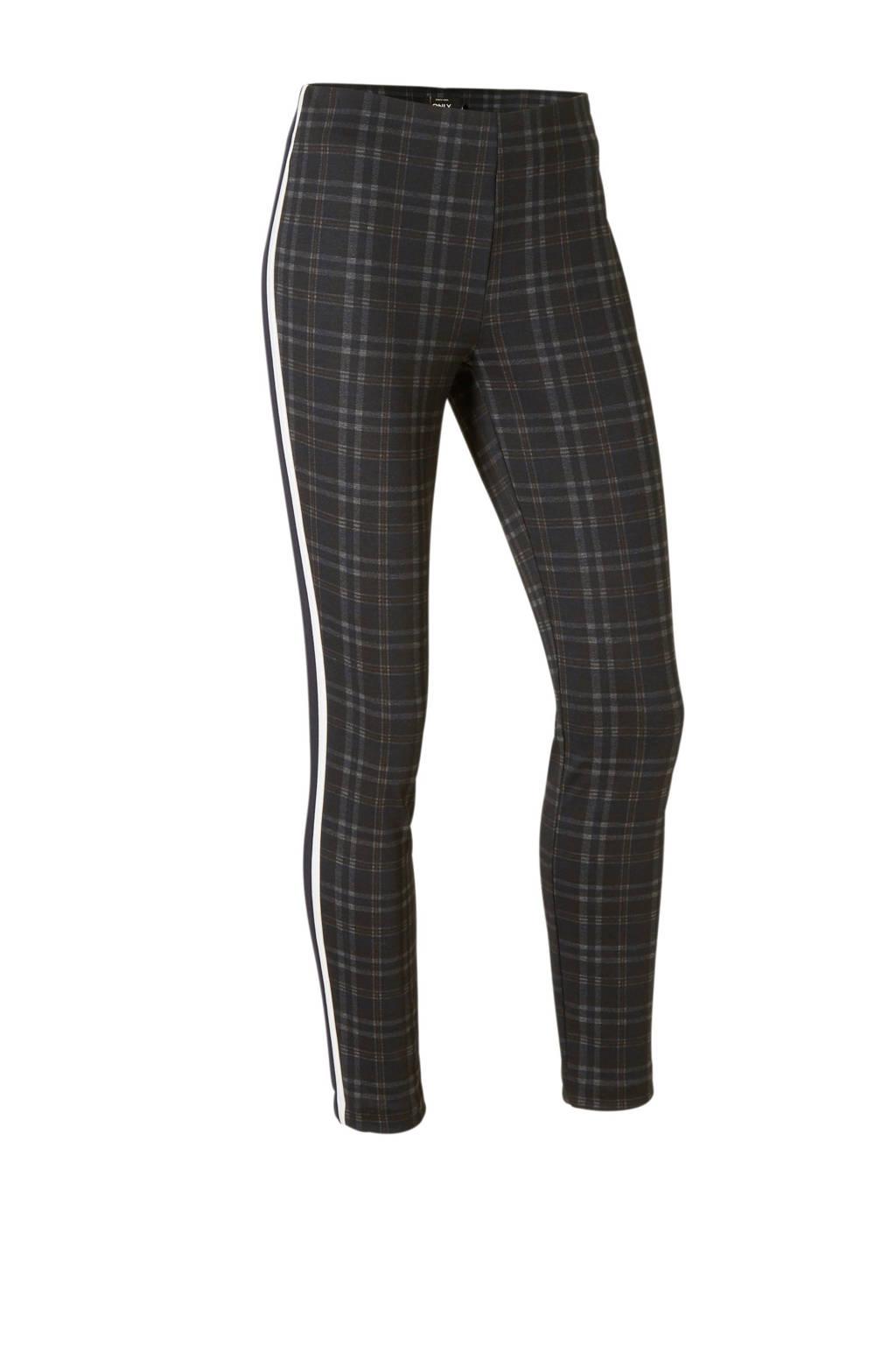 ONLY geruite broek met zij strepen, Zwart/grijs/wit