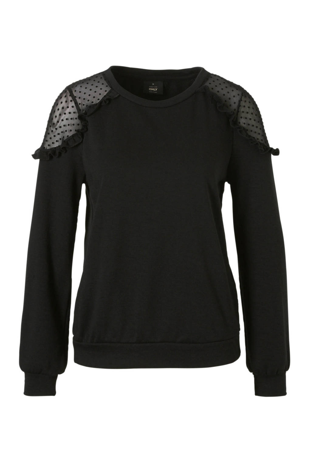 ONLY sweater met ruches en mesh, Zwart
