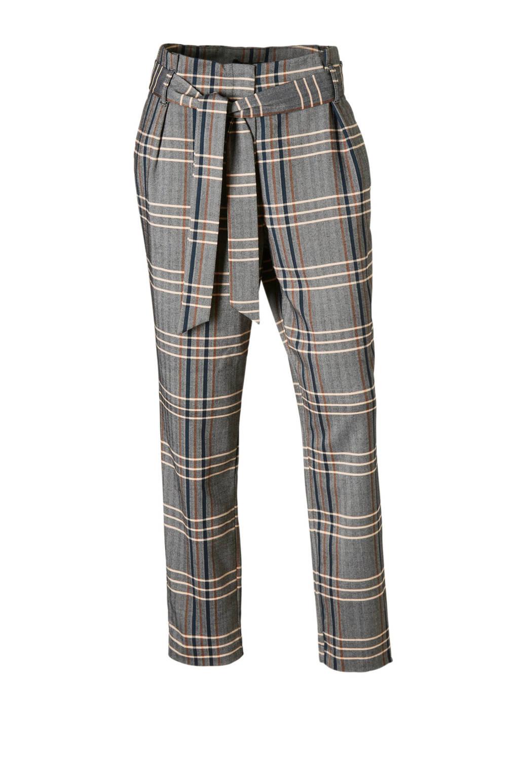 ONLY geruite broek met bind ceintuur, Grijs/Bruin/Blauw