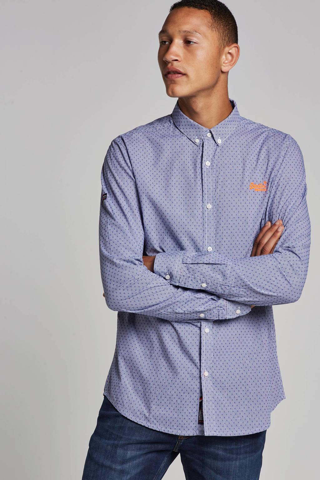 Superdry slim fit overhemd, Blauw/wit