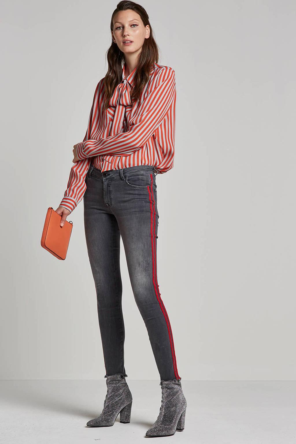 Saint Tropez blouse met streepdessin, Oranje/wit