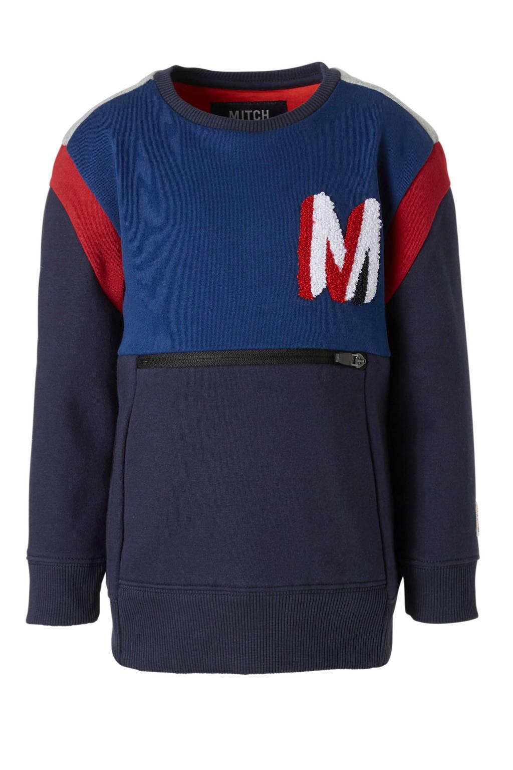 Mitch sweater Fayan blauw, Blauw/rood/grijs