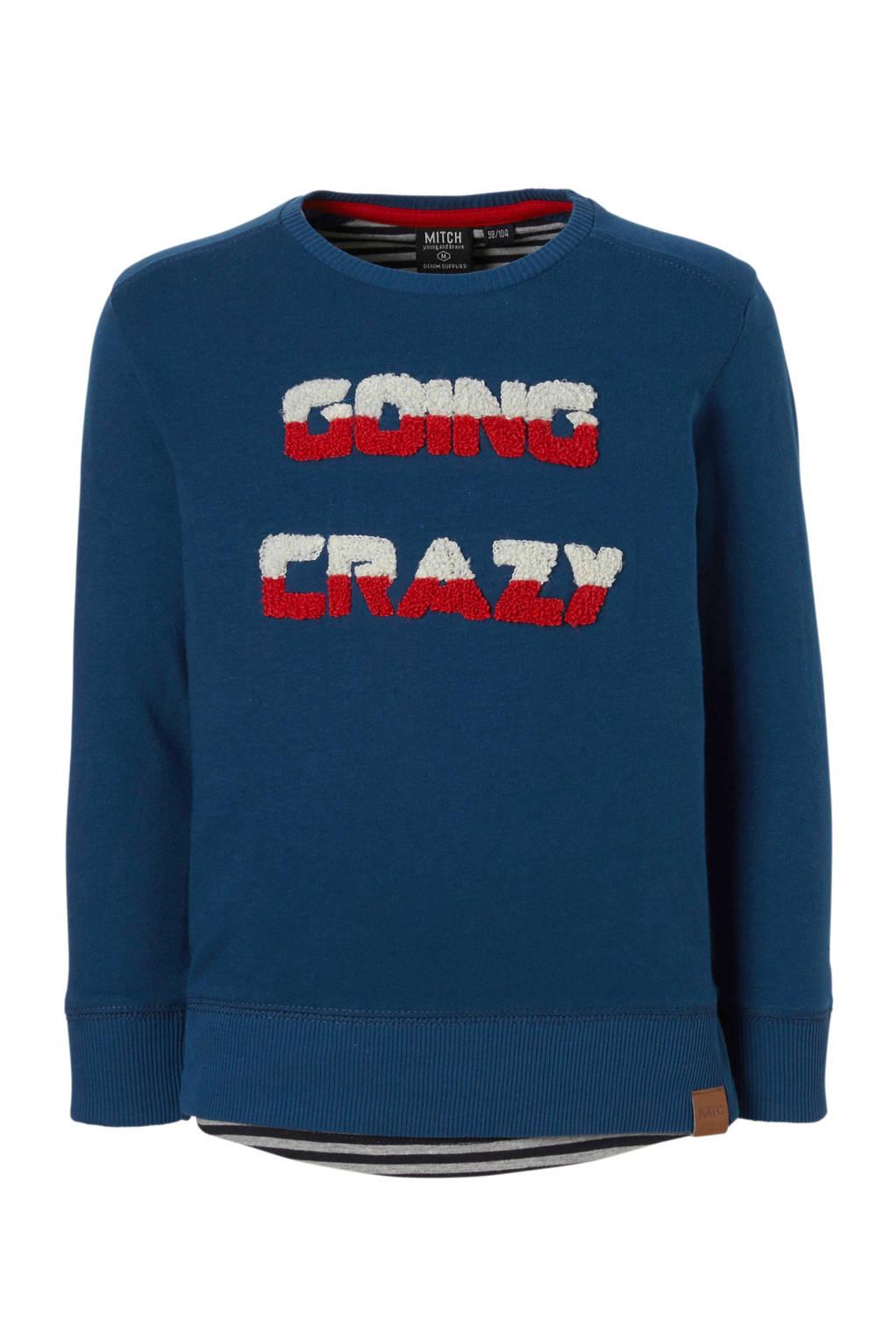 Mitch sweater Fabo met tekst blauw, Blauw/wit/rood