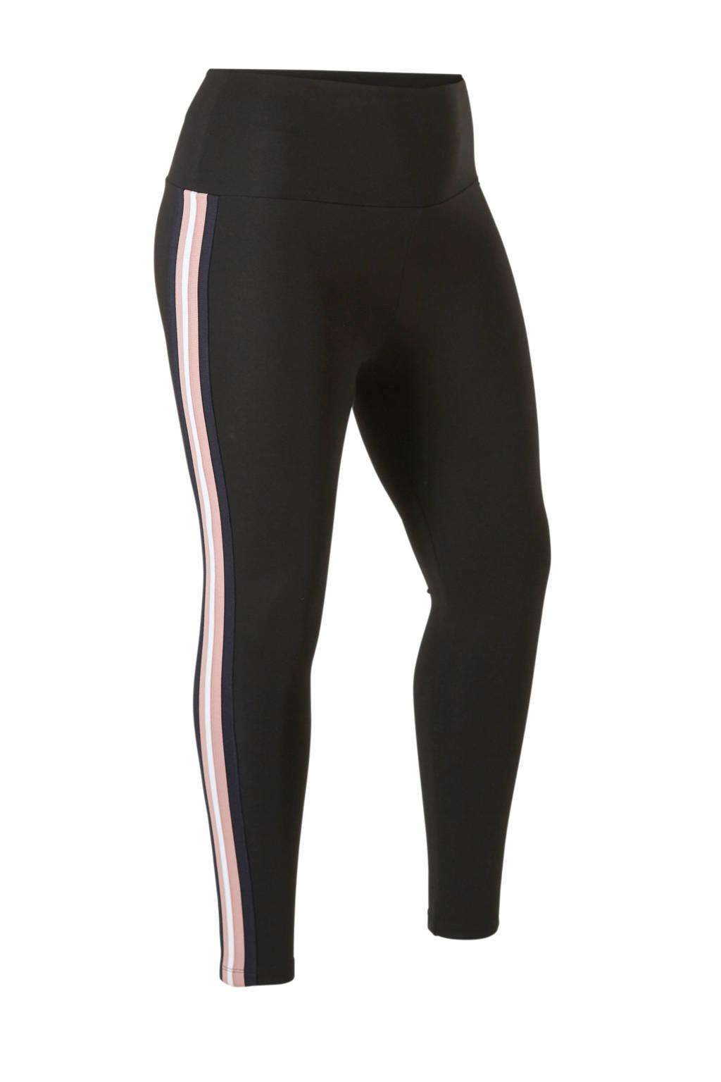 ONLY carmakoma broek met zijstreep, Zwart/roze/donkerblauw/wit