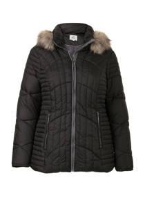 Miss Etam Plus gewatteerde winterjas getailleerd zwart (dames)
