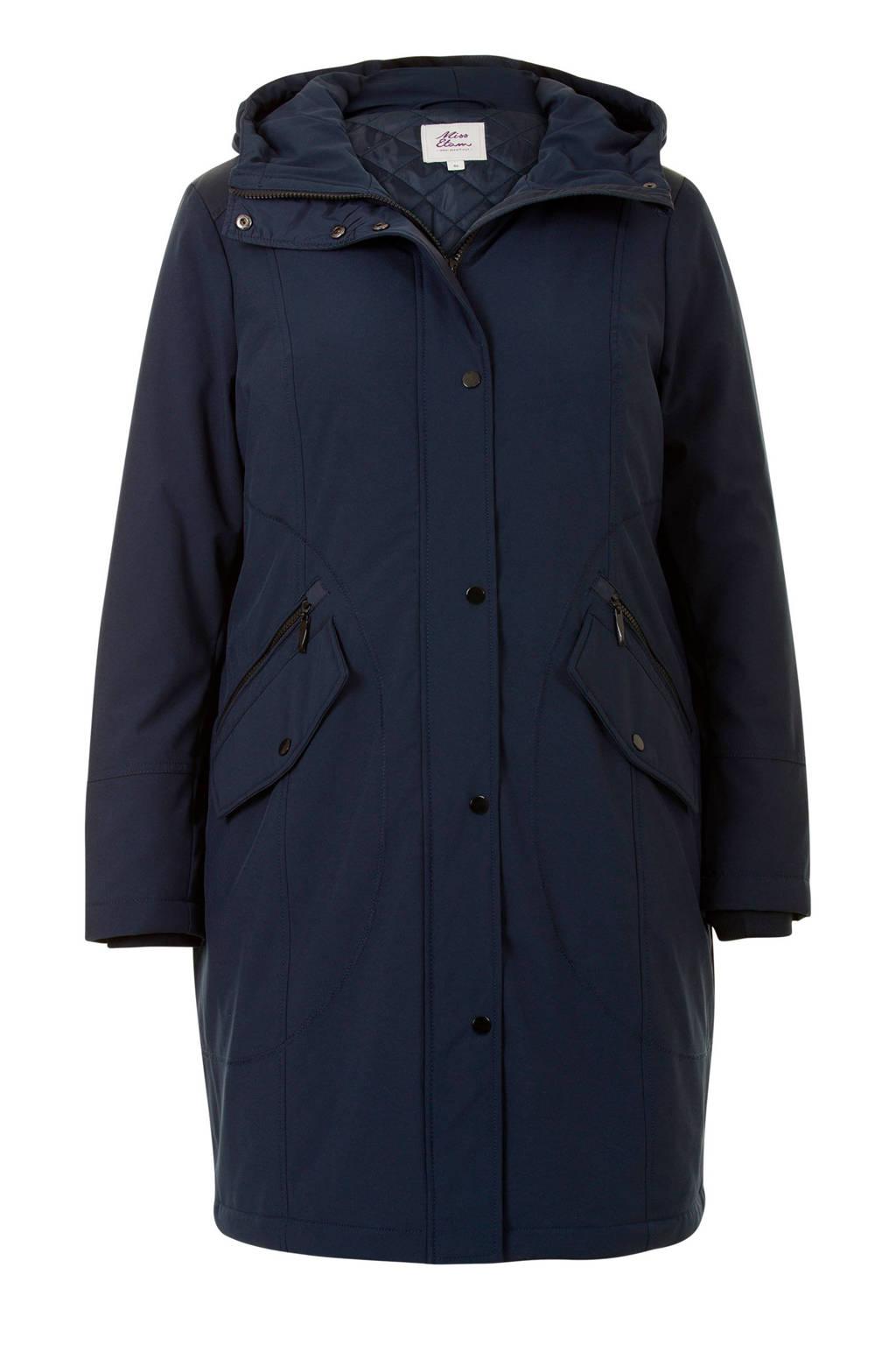 Miss Etam Plus lange jas donkerblauw, Donkerblauw