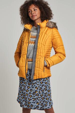 korte jas met capuchon geel