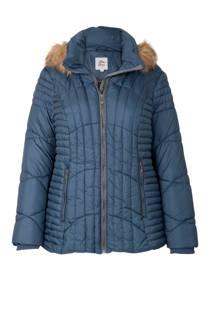 Miss Etam Plus korte jas met capuchon blauw (dames)