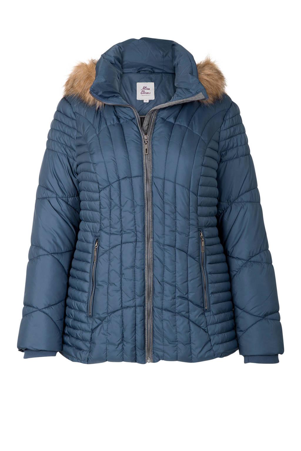 Miss Etam Plus korte jas met capuchon blauw, Blauw