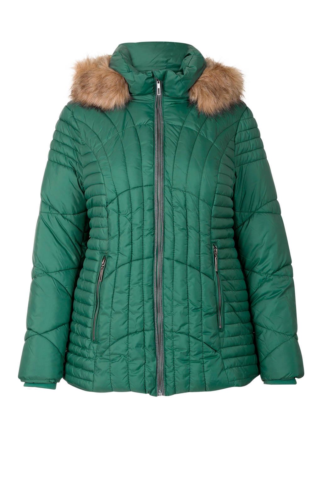 Miss Etam Plus korte jas met capuchon groen, Groen