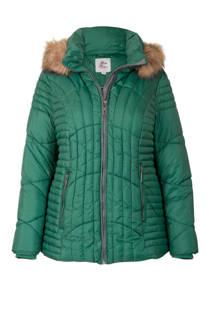 Miss Etam Plus korte jas met capuchon groen (dames)