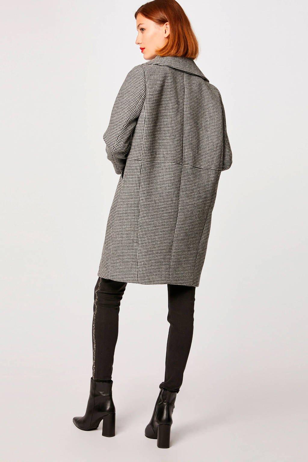 Morgan coat met wol Pied de Poule, Noir