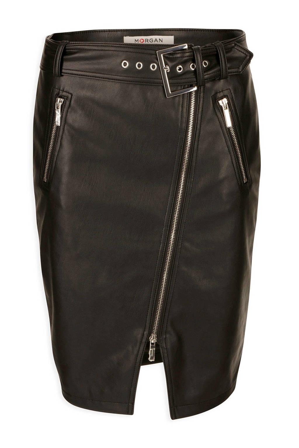 Morgan imitatieleren rok zwart, Zwart