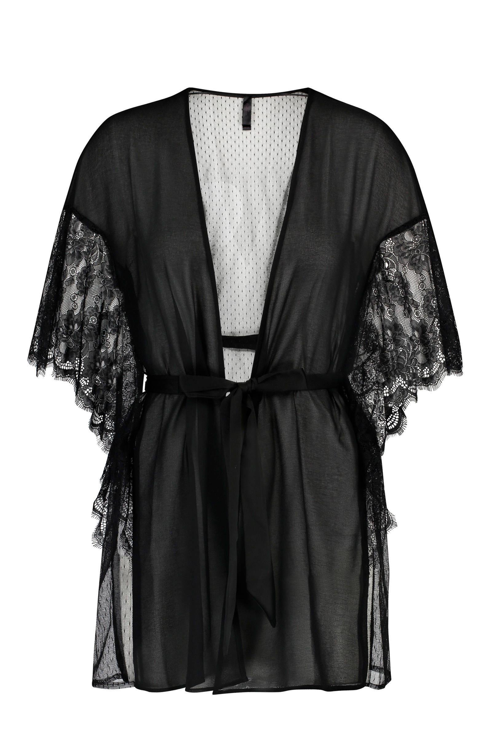Hunkemöller  kimono met mesh zwart