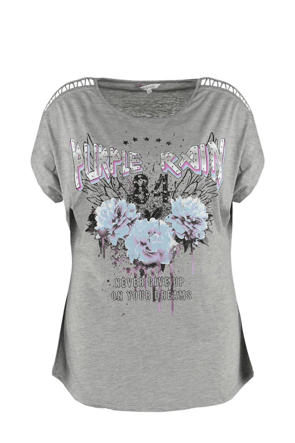 MS Mode t-shirt met ronde hals print en  detail op de schouders, Licht grijs