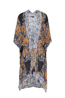 kimono met all over print zwart