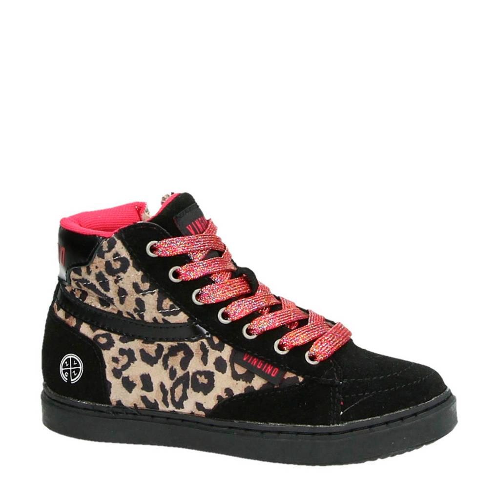 Vingino   suède sneakers met panterprint Tessa zwart, Zwart