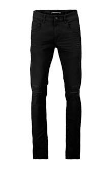 slim fit jeans met slijtage zwart
