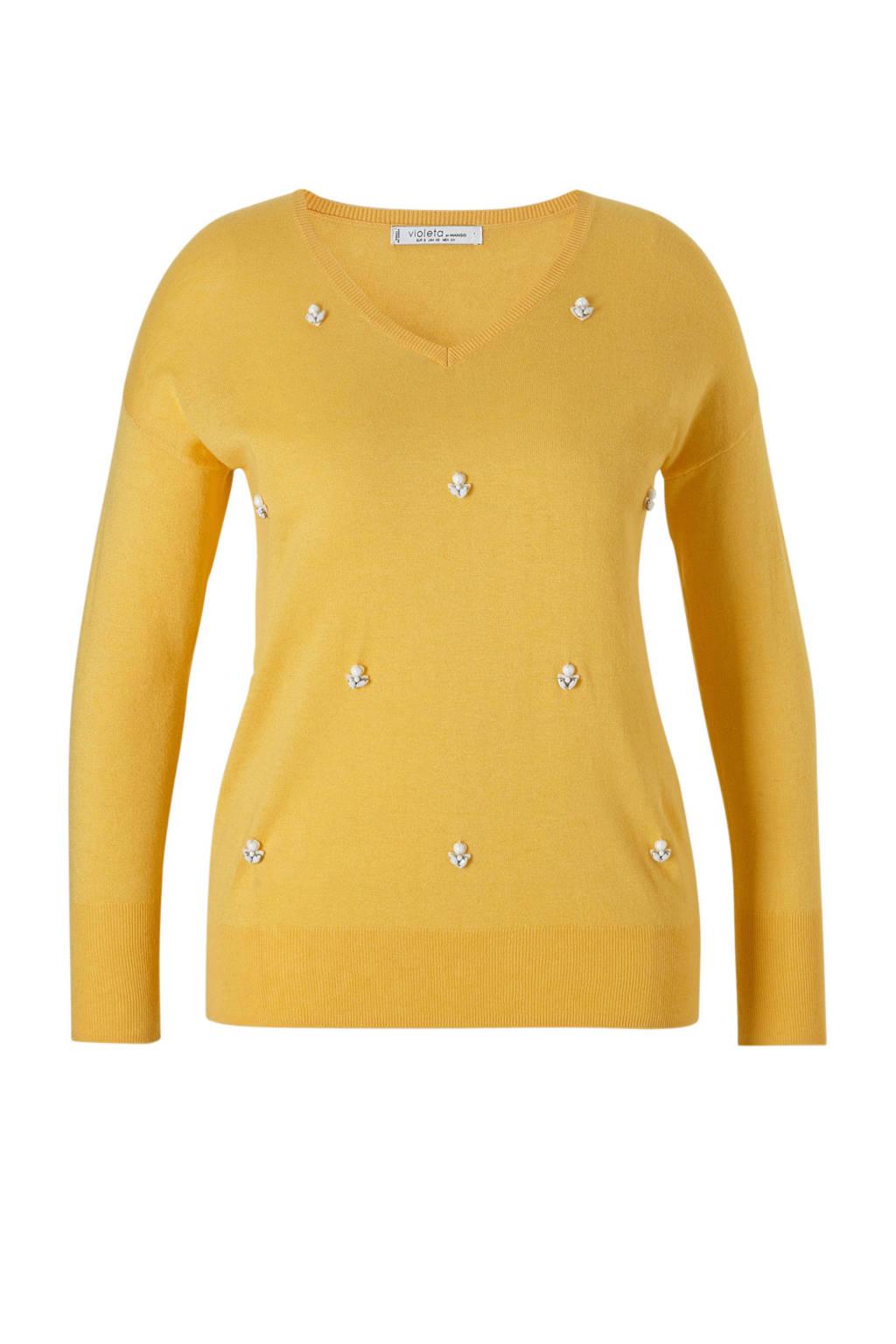 Violeta by Mango fijngebreide trui met kralen, Geel