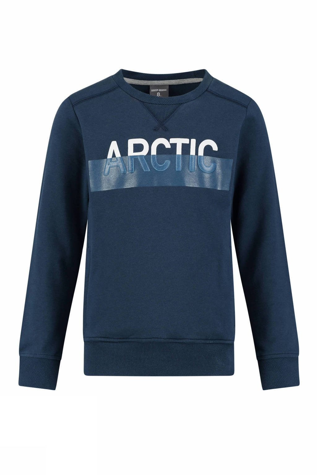 Baker Bridge sweater Karate met tekst blauw, Donkerblauw/wit