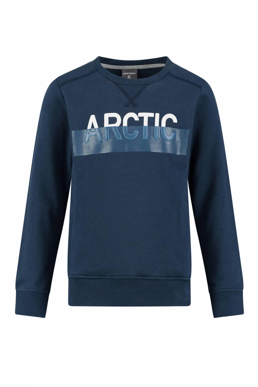 Baker Bridge sweater met contrastbies donkerblauw/wit, Donkerblauw/wit