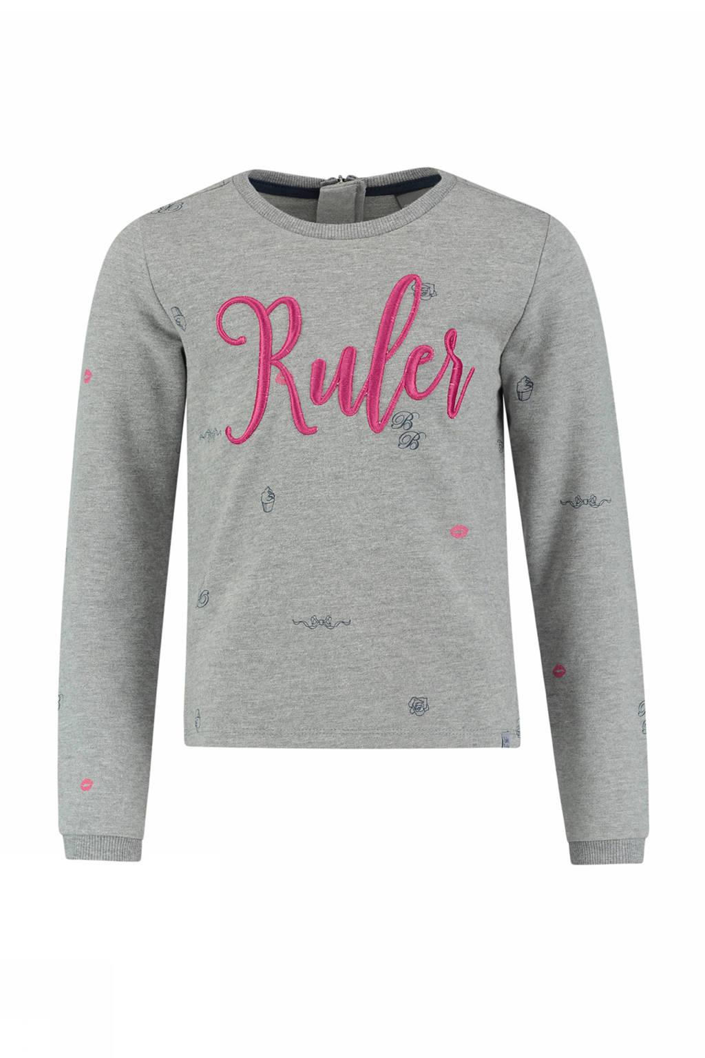 Baker Bridge sweater Karmen met tekst grijs, Grijs/roze