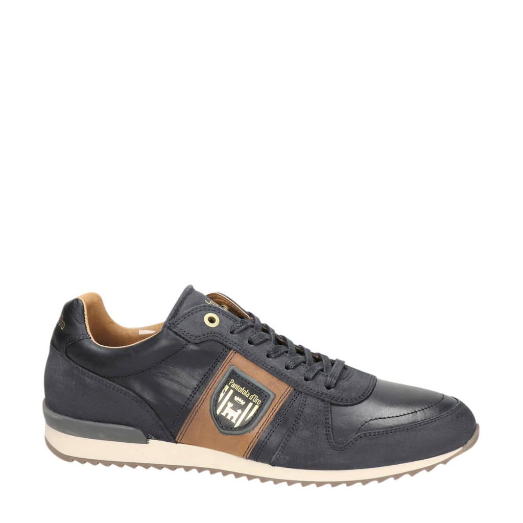 Pantofola d'Oro  leren sneakers blauw, Donkerblauw/Cognac