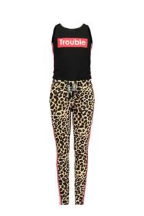 CoolCat jumpsuit met luipaardprint zwart (meisjes)