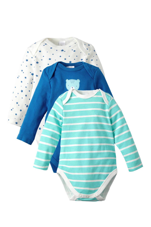 C&A Baby Club romper - set van 3, Blauw/wit/mintgroen