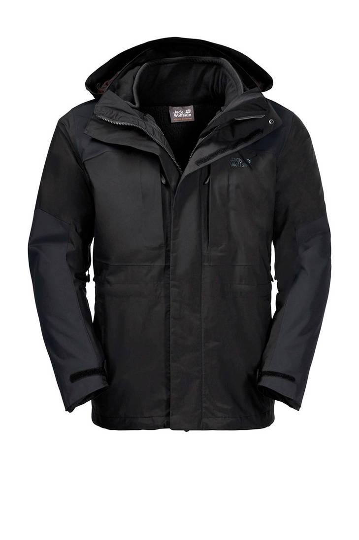 Wolfskin outdoor Jack 3 in jas 1 zwart Thorvald FSpUwq