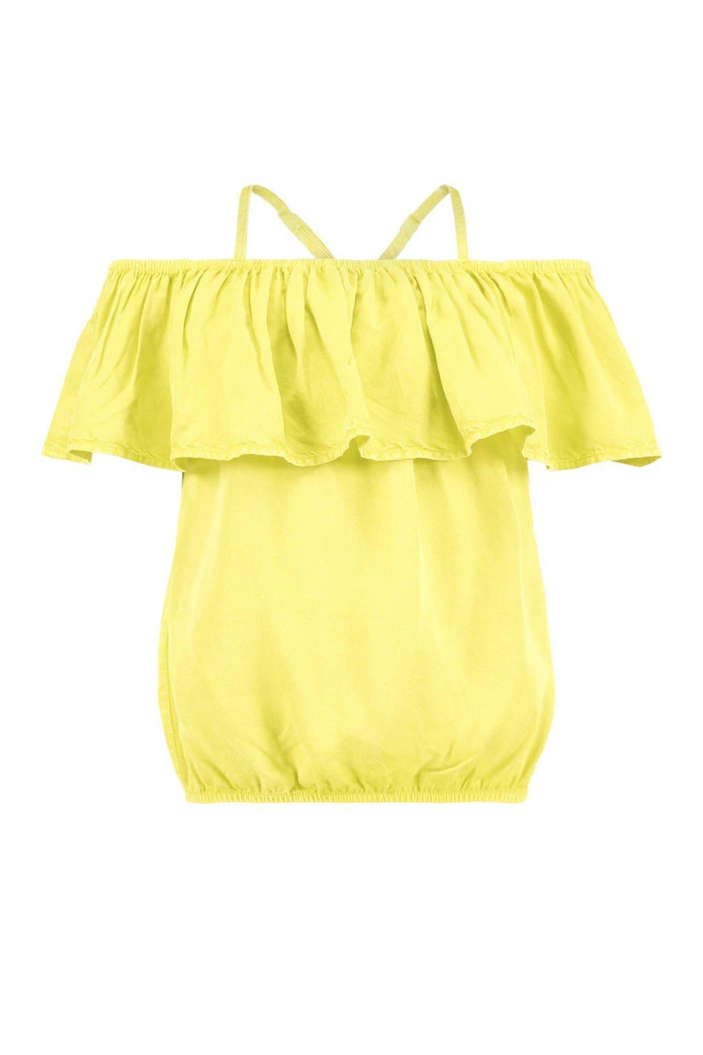 CoolCat open shoulder top geel, Geel