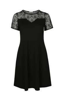 A-lijn jurk met kant zwart