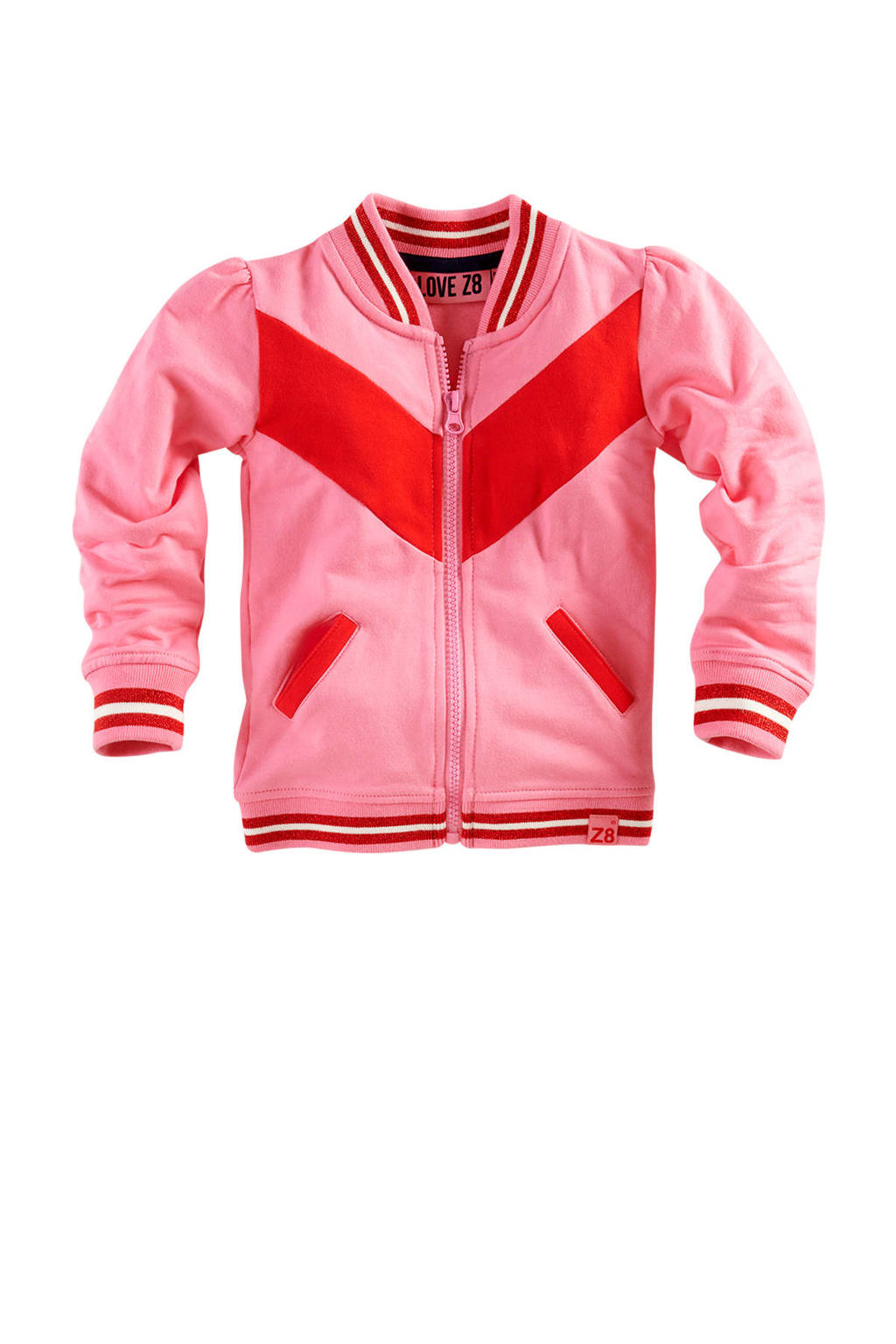 Z8 bombervest Melissa roze, Roze/rood/wit