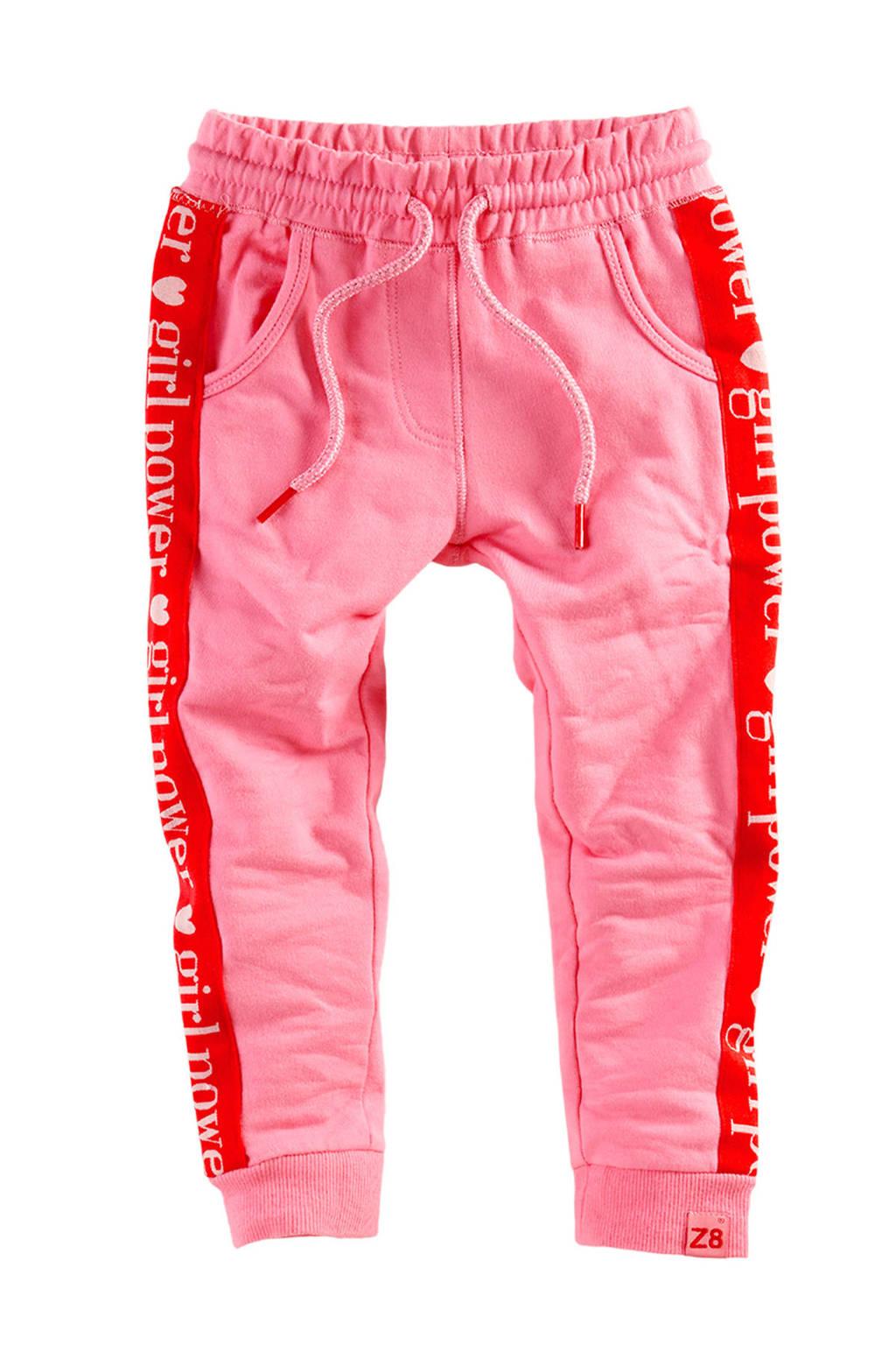 Z8 sweatpants Marije met zijstreep roze, Roze/rood