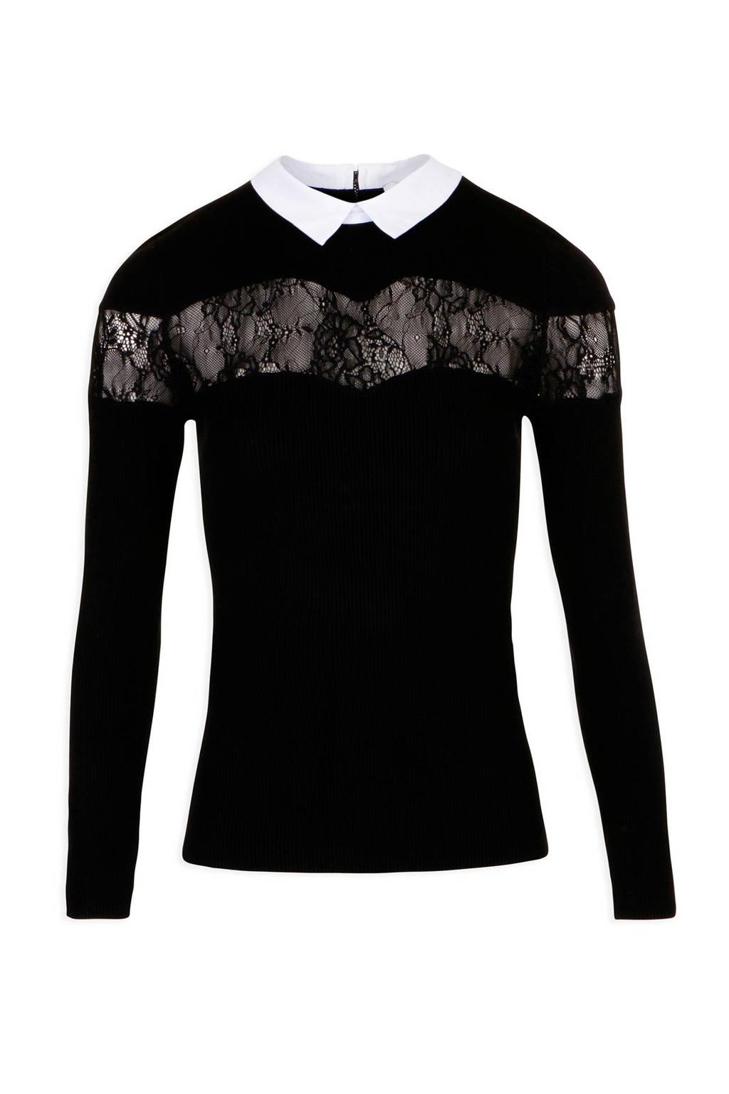 Morgan trui Manon met kant zwart, Zwart