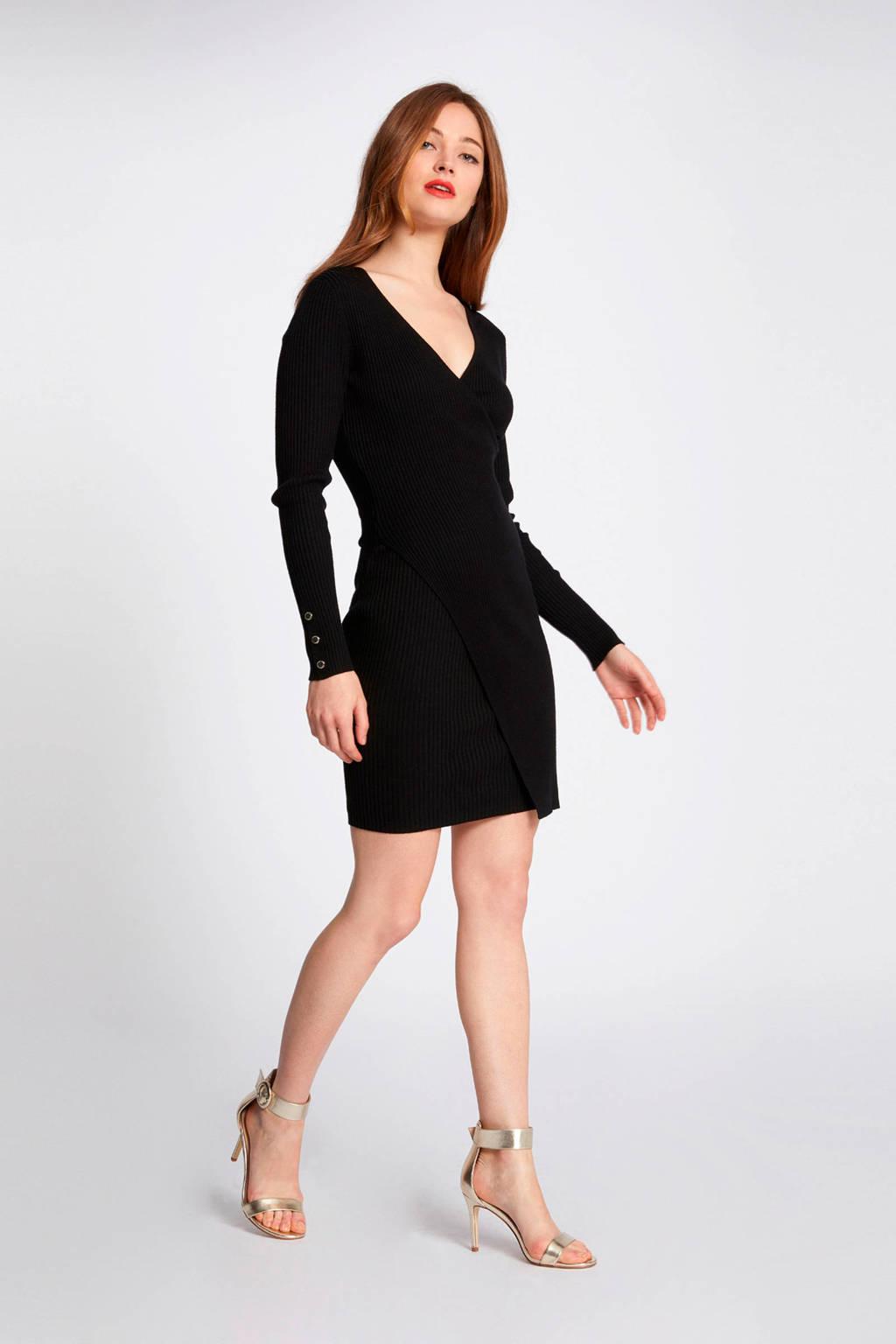 Morgan geribde jurk zwart, Zwart