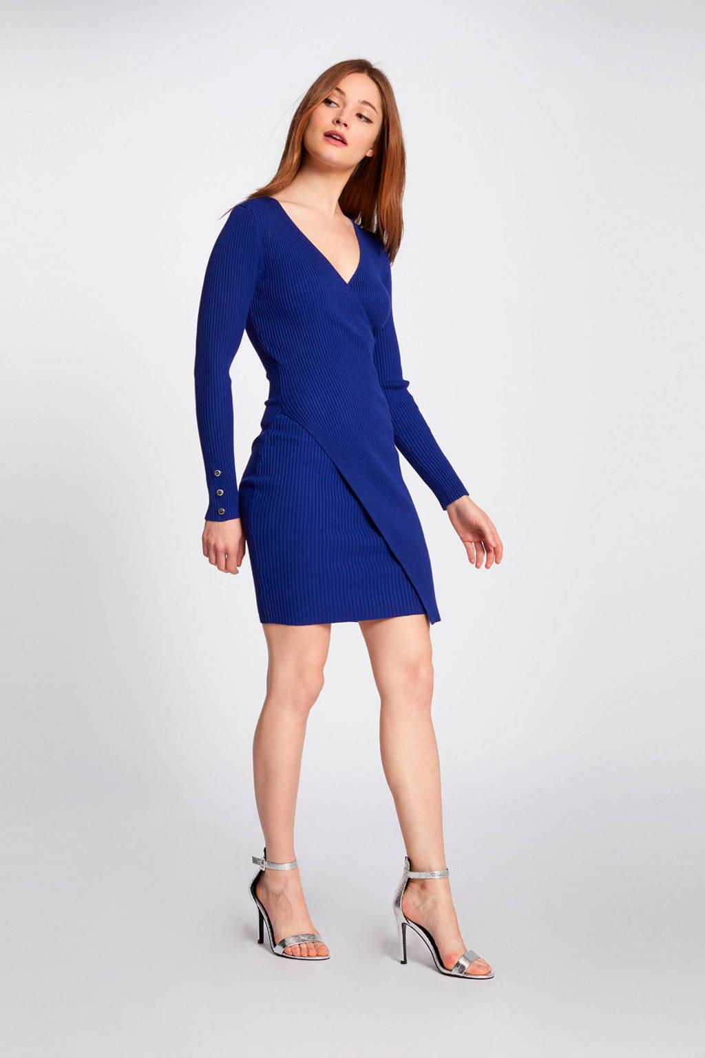 Morgan geribde jurk blauw, Blauw